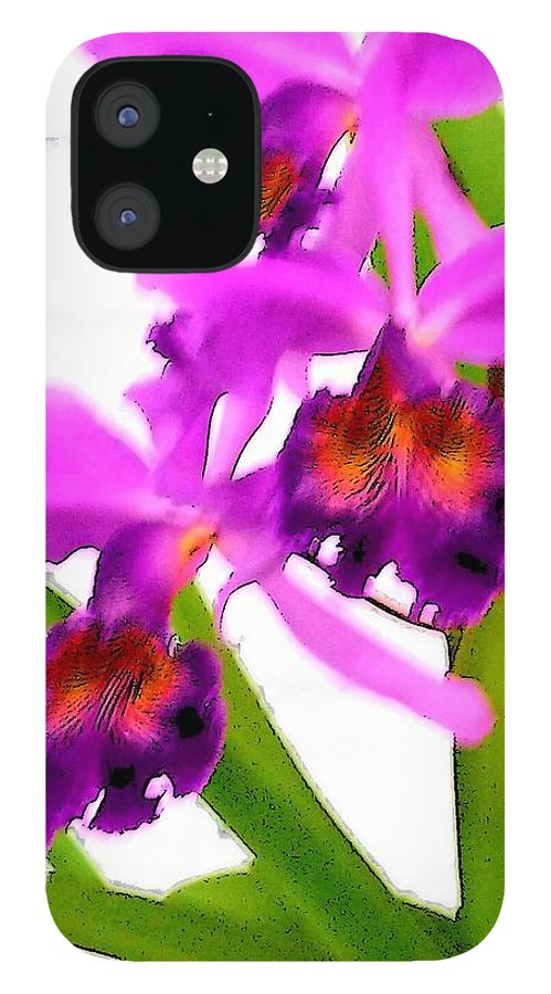 Flowers IPhone 12 Case featuring the digital art Abstract Iris by Anita Burgermeister