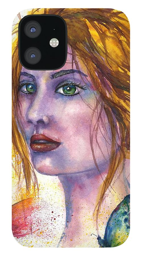 Women Face IPhone 12 Case featuring the painting Abstract women face by Natalja Picugina