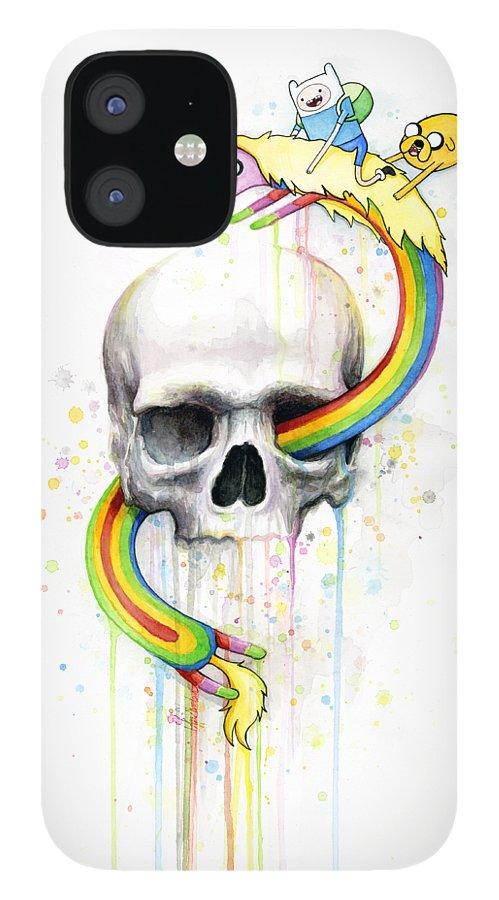 Adventure iPhone 12 Case featuring the painting Adventure Time Skull Jake Finn Lady Rainicorn Watercolor by Olga Shvartsur