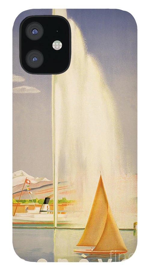 Advertisement For Travel To Geneva IPhone 12 Case featuring the painting Advertisement for travel to Geneva by Fehr