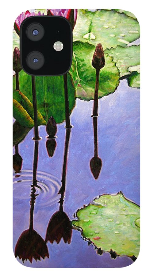 Rose Colored Water Lilies After A Morning Shower With Dark Reflections And Water Ripple. IPhone 12 Case featuring the painting After The Shower by John Lautermilch