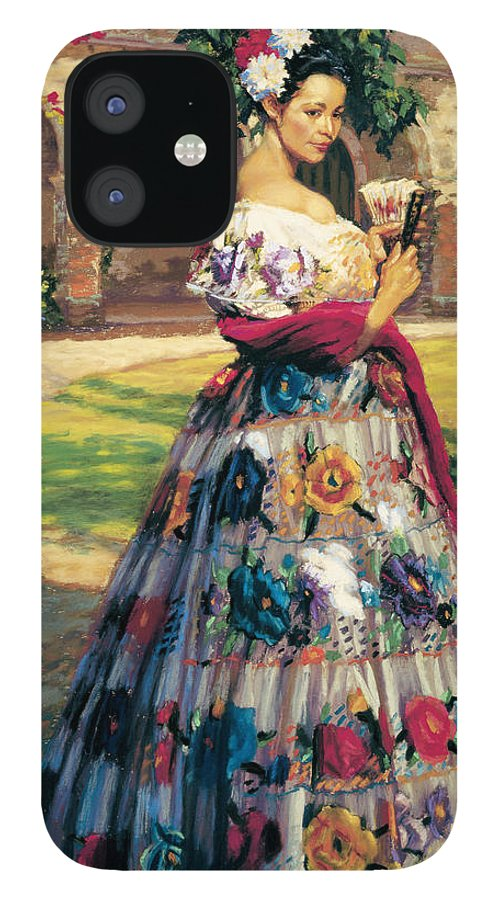 Woman Elaborately Embroidered Mexican Dress. Background Mission San Juan Capistrano. IPhone 12 Case featuring the painting Al Aire Libre by Jean Hildebrant