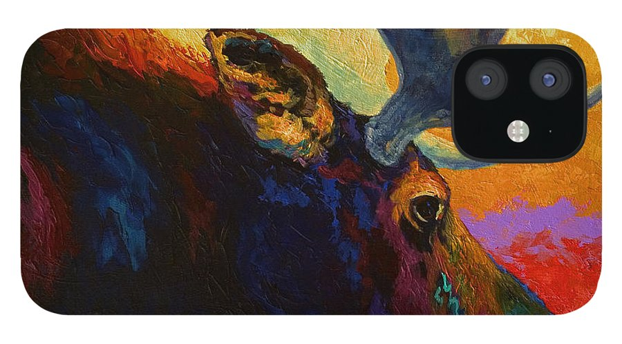 Moose IPhone 12 Case featuring the painting Alaskan Spirit - Moose by Marion Rose