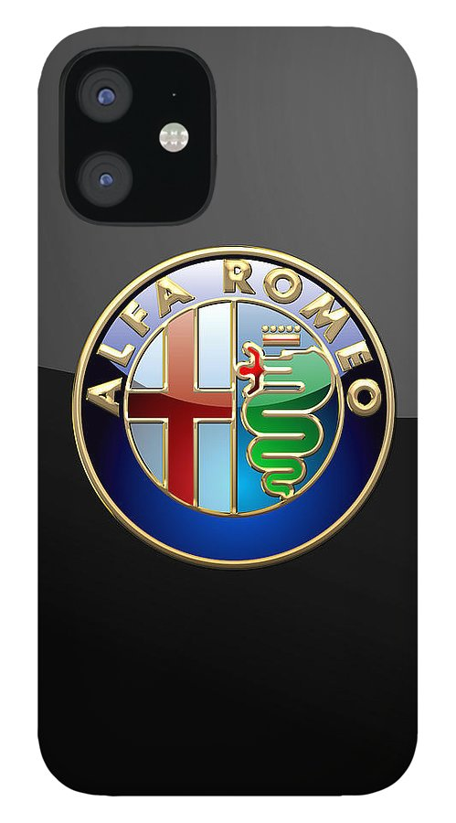 Wheels Of Fortune� Collection By Serge Averbukh IPhone 12 Case featuring the photograph Alfa Romeo - 3 D Badge on Black by Serge Averbukh