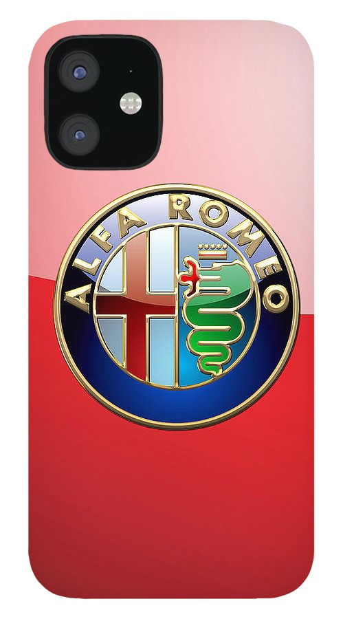 Wheels Of Fortune By Serge Averbukh IPhone 12 Case featuring the photograph Alfa Romeo - 3d Badge on Red by Serge Averbukh
