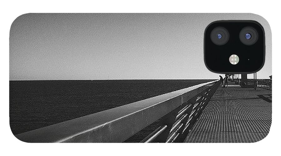 Shadows IPhone 12 Case featuring the photograph #alicante #mediterranean #spain #pier by Michelle Olaya