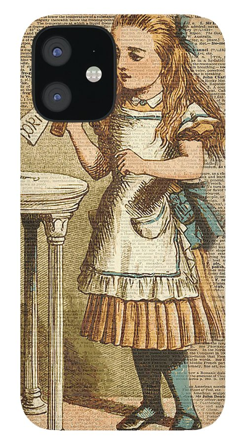 Drink IPhone 12 Case featuring the digital art Alice in Wonderland Drink Me Vintage Dictionary Art Illustration by Anna W