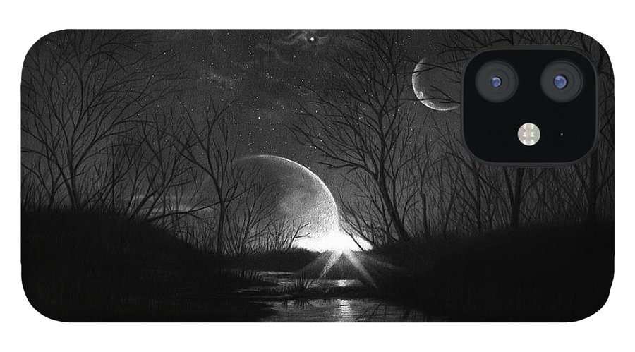 Pencil IPhone 12 Case featuring the drawing Alien Skies by Murphy Elliott