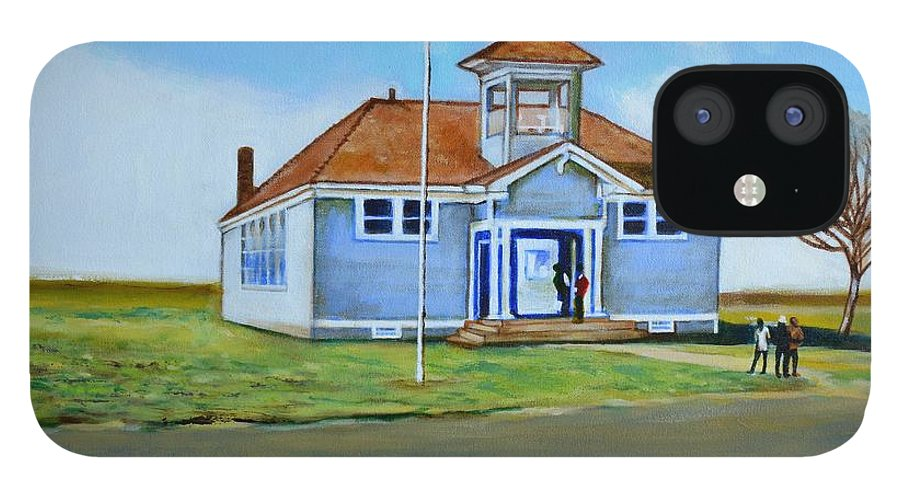Buildings; School; Landscape; African American Community; Historical State Park; IPhone 12 Case featuring the painting Allensworth School by Howard Stroman