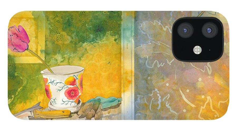 Garden IPhone 12 Case featuring the painting Along The Garden Wall by Jean Blackmer