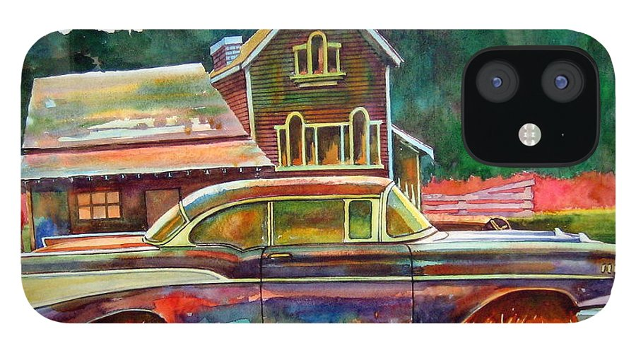 57 Chev IPhone 12 Case featuring the painting American Heritage by Ron Morrison