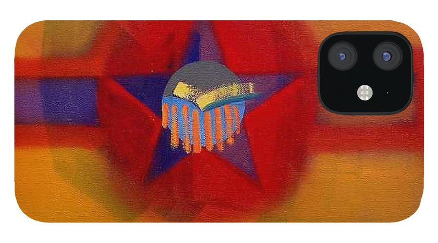 Usaaf Insignia And Idealised Landscape In Union IPhone 12 Case featuring the painting American Sub Decal by Charles Stuart