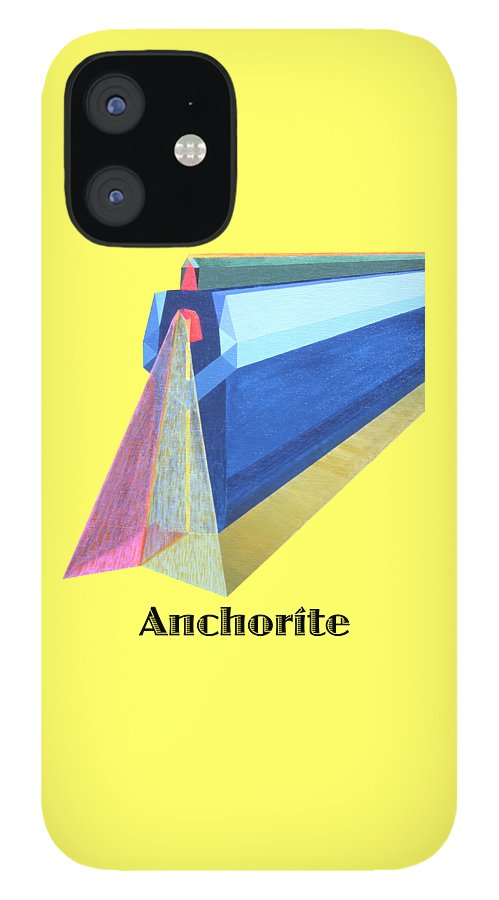 Painting IPhone 12 Case featuring the painting Anchorite -text by Michael Bellon