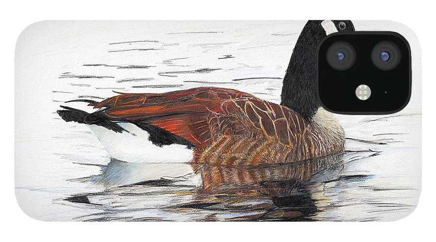 Goose IPhone 12 Case featuring the drawing Annie Belle by Kevin Scott Jacobs
