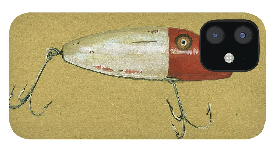 Rainbow Trout IPhone 12 Case featuring the painting Antique Lure Bait by Juan Bosco