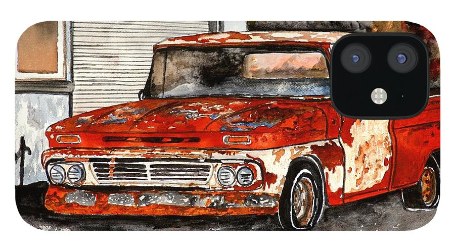 Transportation IPhone 12 Case featuring the painting Antique Old Truck Painting by Derek Mccrea