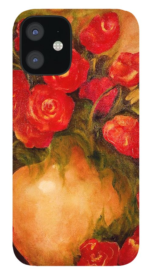 Pretty iPhone 12 Case featuring the painting Antique Roses by Jordana Sands