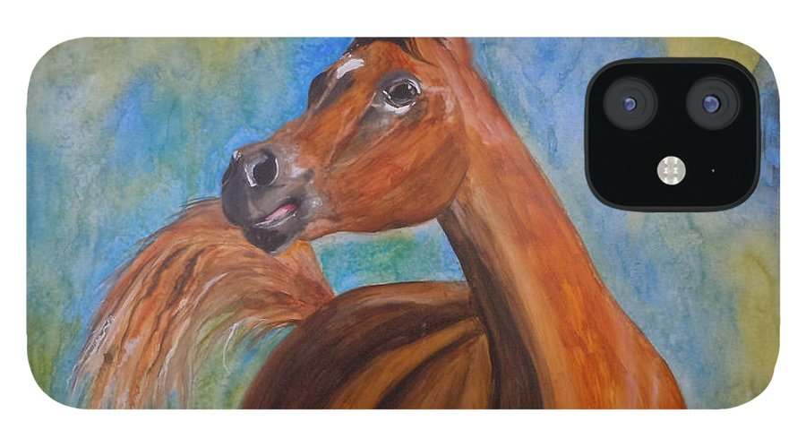 Horse IPhone 12 Case featuring the painting Arabian Beauty by Jean Blackmer