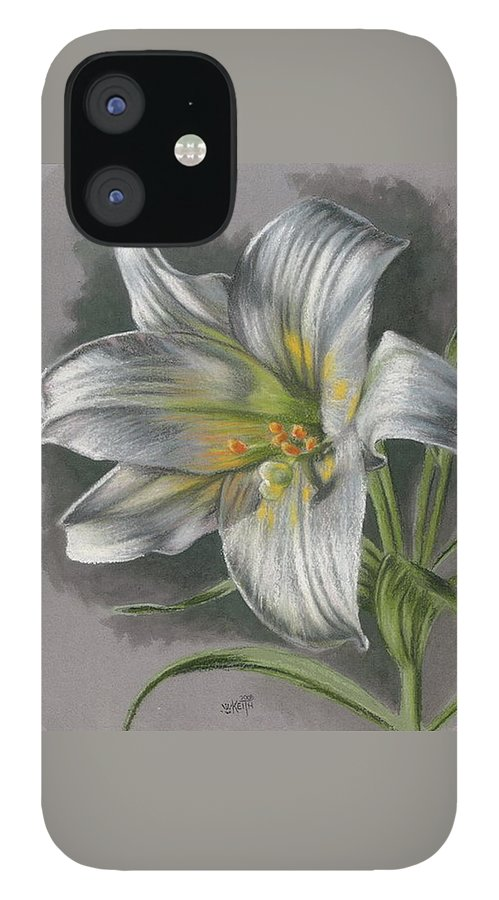 Easter Lily iPhone 12 Case featuring the mixed media Arise by Barbara Keith