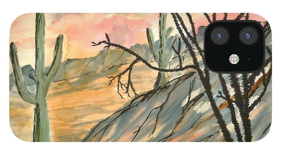 Drawing IPhone 12 Case featuring the painting Arizona Evening Southwestern landscape painting poster print by Derek Mccrea