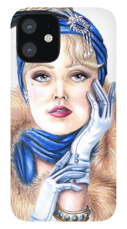 Head Shot IPhone 12 Case featuring the drawing Aroura by Scarlett Royal