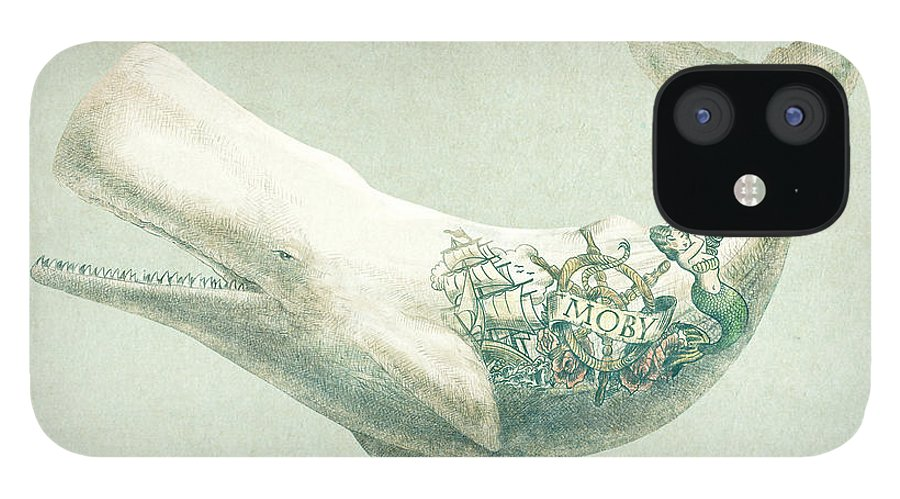 Whale IPhone 12 Case featuring the drawing Far and Wide by Eric Fan