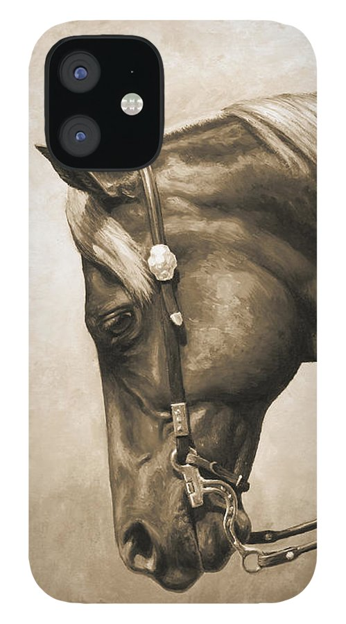 Horse iPhone 12 Case featuring the painting Western Horse Painting In Sepia by Crista Forest