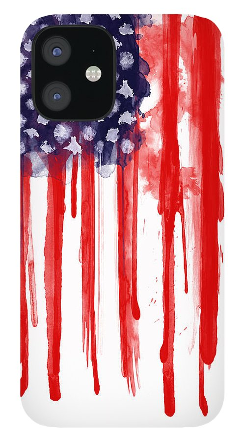 America IPhone 12 Case featuring the painting American Spatter Flag by Nicklas Gustafsson