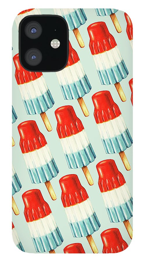 Popsicle iPhone 12 Case featuring the painting Bomb Pop Pattern by Kelly Gilleran