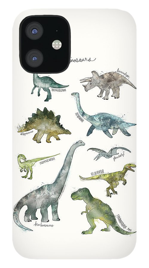 Dinosaurs iPhone 12 Case featuring the painting Dinosaurs by Amy Hamilton