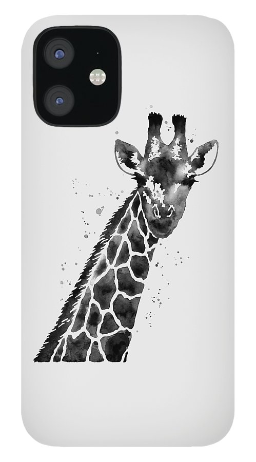 Giraffe iPhone 12 Case featuring the painting Giraffe in Black and White by Hailey E Herrera
