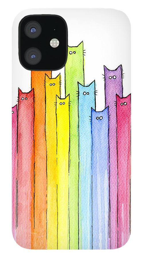 Cats IPhone 12 Case featuring the painting Cat Rainbow Watercolor Pattern by Olga Shvartsur