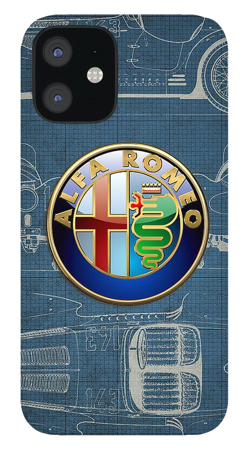 �wheels Of Fortune� By Serge Averbukh IPhone 12 Case featuring the photograph Alfa Romeo 3 D Badge over 1938 Alfa Romeo 8 C 2900 B Vintage Blueprint by Serge Averbukh