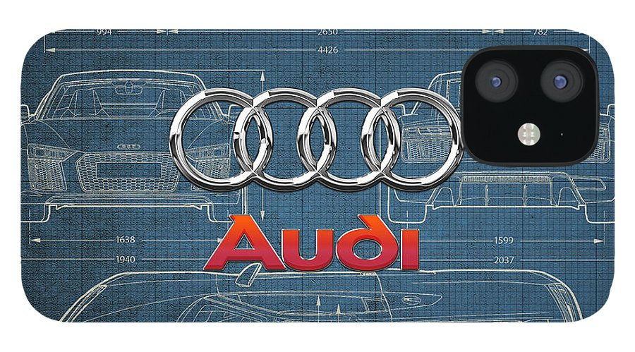 �wheels Of Fortune� Collection By Serge Averbukh IPhone 12 Case featuring the photograph Audi 3 D Badge over 2016 Audi R 8 Blueprint by Serge Averbukh