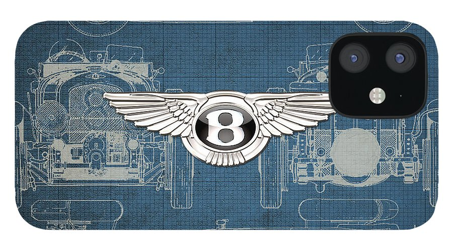 �wheels Of Fortune� By Serge Averbukh iPhone 12 Case featuring the photograph Bentley - 3 D Badge over 1930 Bentley 4.5 Liter Blower Vintage Blueprint by Serge Averbukh