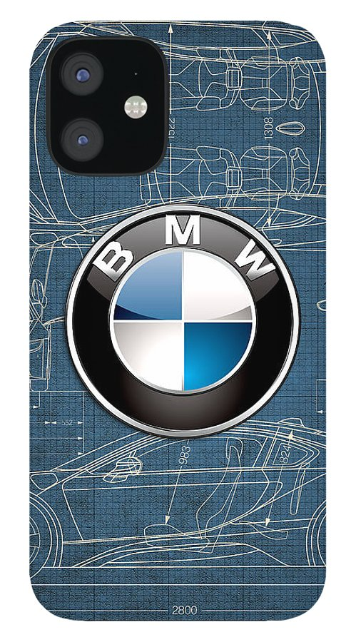 �wheels Of Fortune� By Serge Averbukh IPhone 12 Case featuring the photograph B M W 3 D Badge over B M W i8 Blueprint by Serge Averbukh