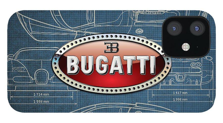 �wheels Of Fortune� By Serge Averbukh IPhone 12 Case featuring the photograph Bugatti 3 D Badge over Bugatti Veyron Grand Sport Blueprint by Serge Averbukh