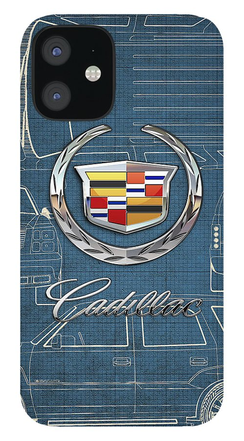 'wheels Of Fortune' By Serge Averbukh IPhone 12 Case featuring the photograph Cadillac 3 D Badge over Cadillac Escalade Blueprint by Serge Averbukh