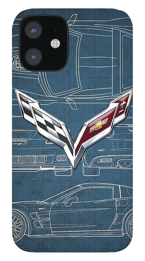 �wheels Of Fortune� By Serge Averbukh IPhone 12 Case featuring the photograph Chevrolet Corvette 3 D Badge over Corvette C 6 Z R 1 Blueprint by Serge Averbukh