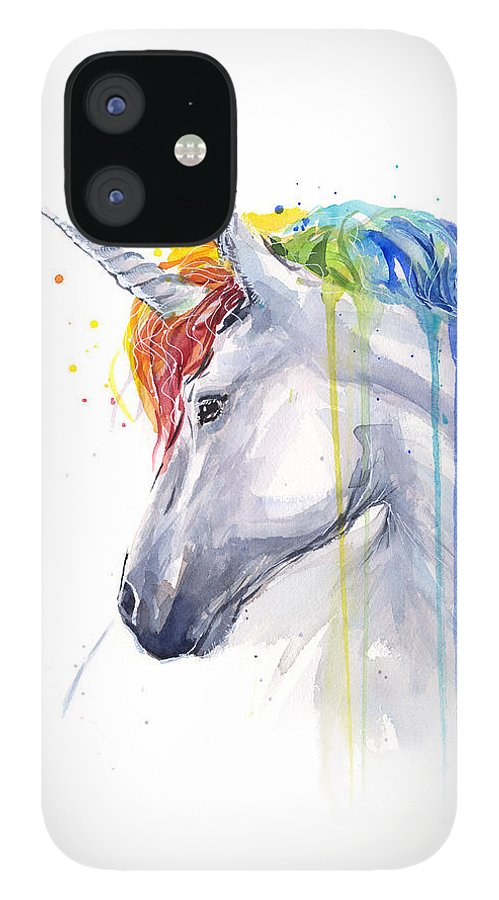 Magical iPhone 12 Case featuring the painting Unicorn Rainbow Watercolor by Olga Shvartsur