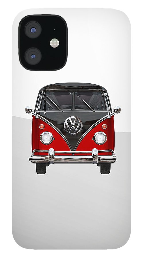 'volkswagen Type 2' Collection By Serge Averbukh IPhone 12 Case featuring the photograph Volkswagen Type 2 - Red and Black Volkswagen T 1 Samba Bus on White by Serge Averbukh
