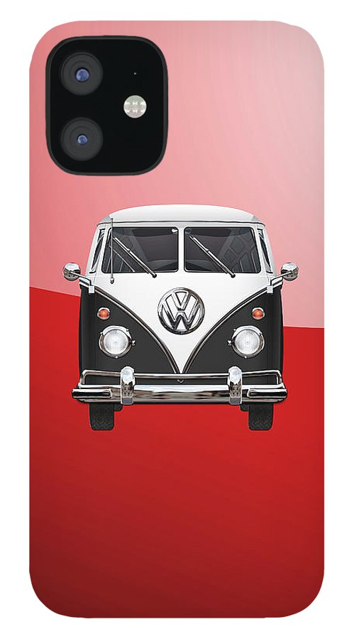 'volkswagen Type 2' Collection By Serge Averbukh IPhone 12 Case featuring the photograph Volkswagen Type 2 - Black and White Volkswagen T 1 Samba Bus on Red by Serge Averbukh