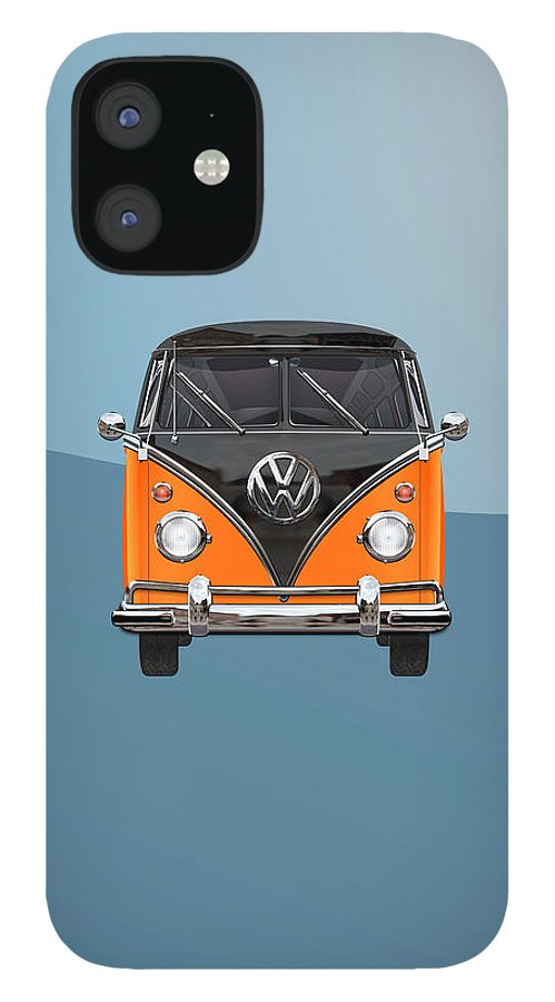 'volkswagen Type 2' Collection By Serge Averbukh IPhone 12 Case featuring the photograph Volkswagen Type 2 - Black and Orange Volkswagen T 1 Samba Bus over Blue by Serge Averbukh