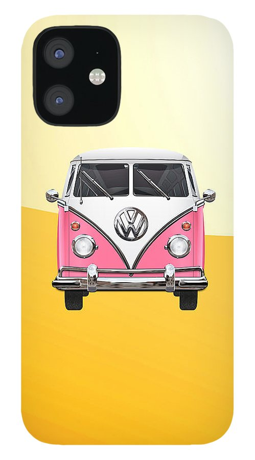 'volkswagen Type 2' Collection By Serge Averbukh IPhone 12 Case featuring the photograph Pink and White Volkswagen T 1 Samba Bus on Yellow by Serge Averbukh