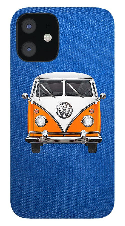 'volkswagen Type 2' Collection By Serge Averbukh IPhone 12 Case featuring the photograph Volkswagen Type - Orange and White Volkswagen T 1 Samba Bus over Blue Canvas by Serge Averbukh