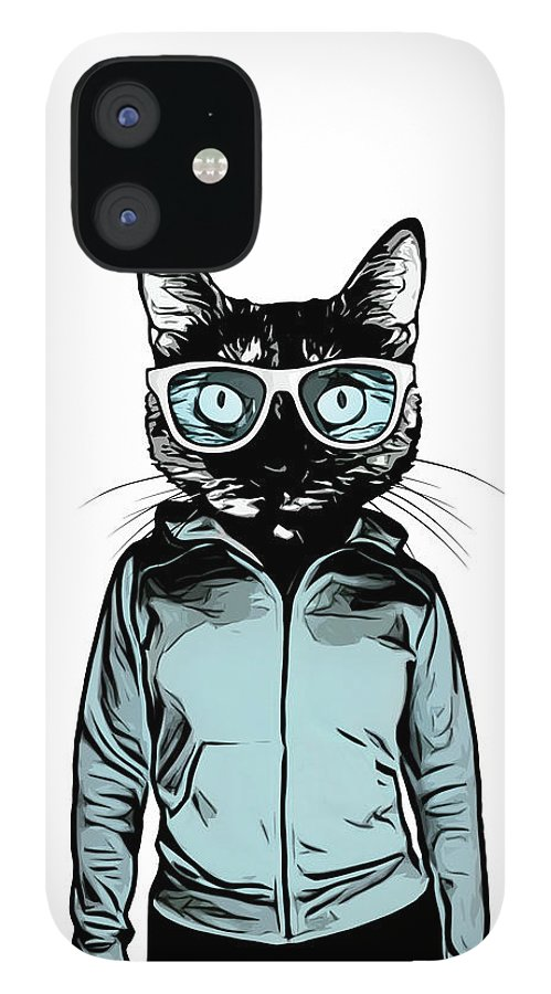 Cat IPhone 12 Case featuring the mixed media Cool Cat by Nicklas Gustafsson
