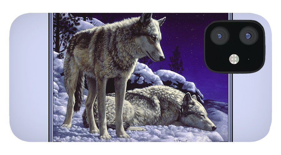 Wolf IPhone 12 Case featuring the painting Wolf Painting - Night Watch by Crista Forest
