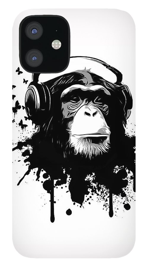 Ape IPhone 12 Case featuring the digital art Monkey Business by Nicklas Gustafsson