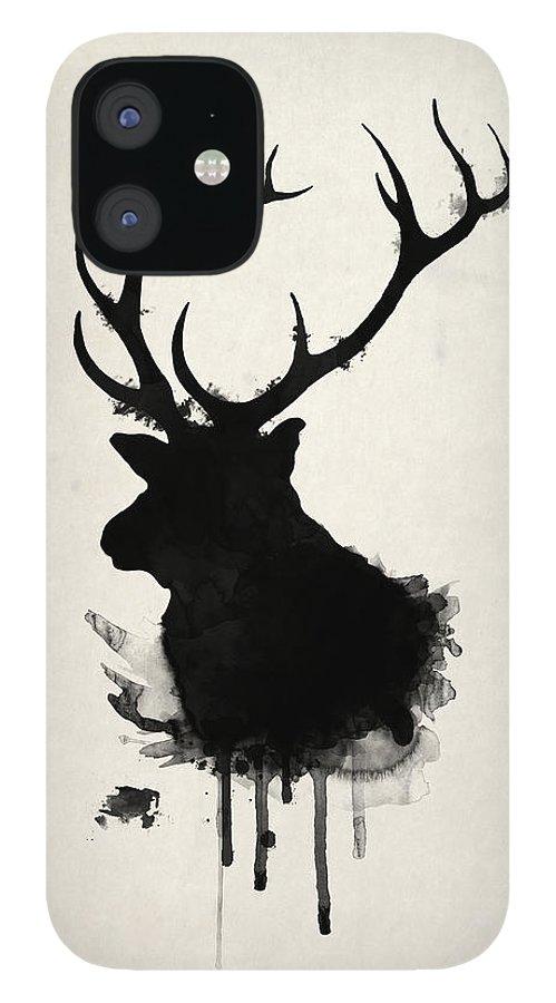 Elk IPhone 12 Case featuring the drawing Elk by Nicklas Gustafsson