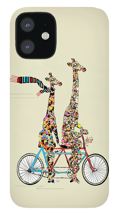 Giraffes IPhone 12 Case featuring the painting Giraffe Days Lets Tandem by Bri Buckley